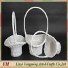 Rustic and antique 3pcs white wicker willow flower basket