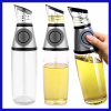Healthy Cooking 500ml Oil Vinegar Press & Measure Kitchen Glass Bottle Dispenser