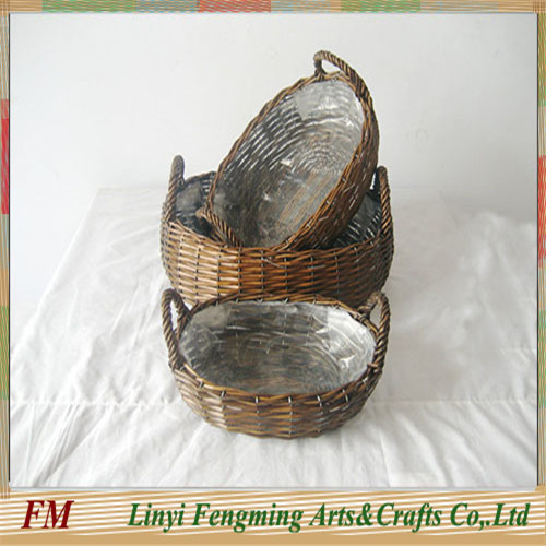 Red camping wicker food storage basket