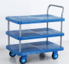 Three layers noiseless plastic platform trolley