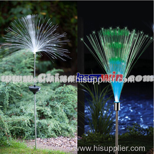 Color Changing Set of 2 Solar Fiber Optic Light Fountain Garden Stake