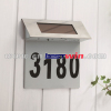Solar Power House Number Light Stainless Steel Door Plate Address Lamp