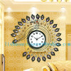 Modern living room european-style wall clock creative large bell character art wrought iron clockfashion peacock tabl