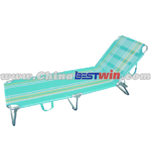 Blue Stripe Folding Sun Bed Lounger