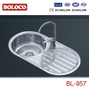 Spain Middle Polish/Satin/Ele-pearl Double bowl Single drainer One piece Round Kitchen Sink 304# BL957