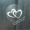 Custom round white hearts printed water resistant transparent stickers