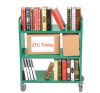 Mobile book cart rolling book utility cart with 3 flat shelves