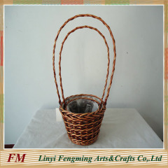 Garden decor willow flower basket with liner