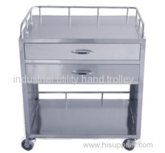 Hospital medication stainless steel cart with drawers
