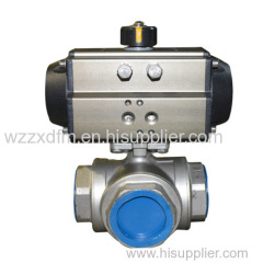 Pneumatic 3-way ball valve Pneumatic threaded 3 way ball valve Pneumatic t type ball valve