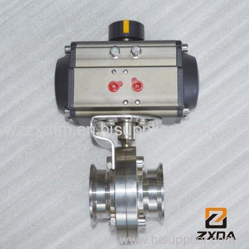 sanitary pneumatic butterfly valve 316L clamp type butterfly valve