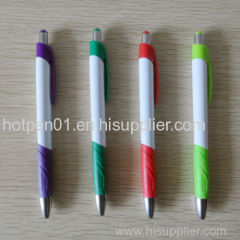 Plastic ballpen with colored rubber grip Made In China factory