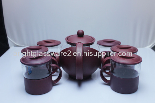 Typical Chinese style design a set of heat resistant glass tea pot for wholesale