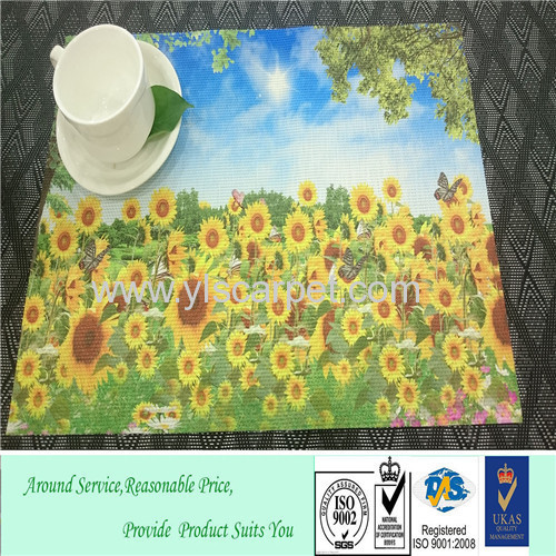 woven vinyl christmas placemats sunflower printed &3D printing table mat