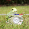 Garden Decor Post Solar Powered Light Resin Frog
