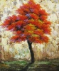 100% Handmade Red Leaves Tree Oil Painting