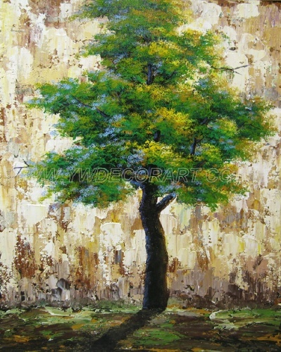 100% Handmade Green Leaves Tree Oil Painting For Home Decoration