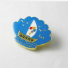 custom shell design blue color enamel metal badge