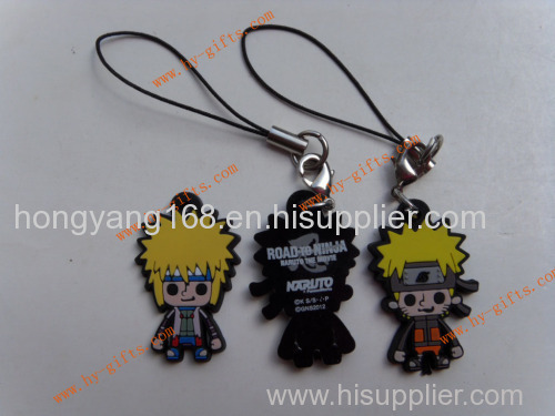 pvc mobile phone strap rubber phone padent naruto anime phone accessories
