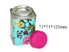 Double Caps Flower Printing Coffee Bean Metal Box