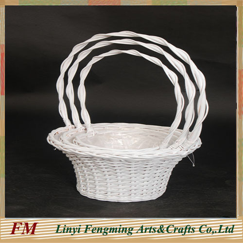 wicker flower basket with handle white wash