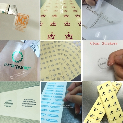 Minrui Green Rectangle Water Proof Transparent Adhesive Label PVC Vinyl Transparent Stickers