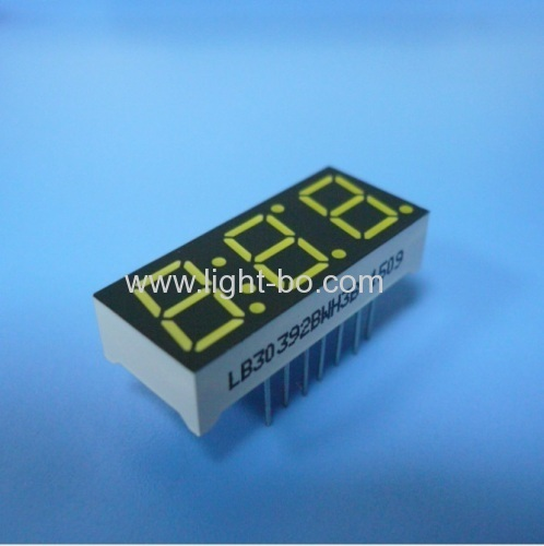 Triple digit 0.39 ( 10mm) common anode ultra white 7 segment led display for Instrument Panel