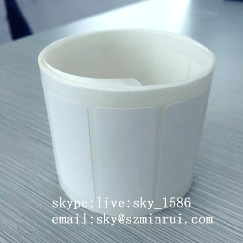 Minrui White Blank Eggshell Sticker Roll Self Adhesive Destructive Custom Size Paper Labels