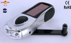 3 leds solar dynamo flashlight cell phone charger