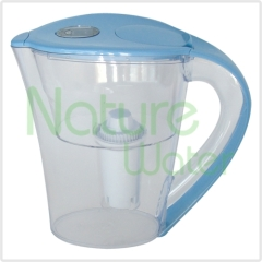 blue water pitcher with carbon cartridge inside