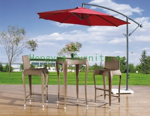 Brown color PE rattan stool bar chair set furniture factory