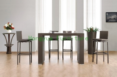Grey color PE new rattan stool chair set furniture