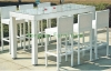 White wicker materials bar height chair set