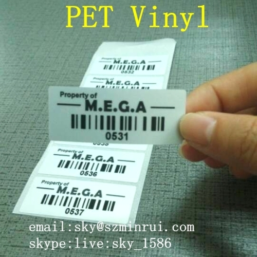 Matte Silver PET Waterproof Barcode Labels Custom Print Bar Code Property Identification Labels