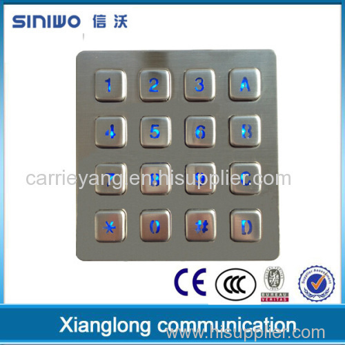 Hot selling mechanical metal keypad matrix design 16 button keypad custom illuminated