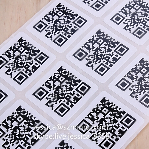 Professional Manufacturer Supply Custom Design Printed Strong Adhesive Destructible Vinyl QR Code Label Sticker