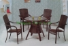 Strong wicker iron frame materials table and chairs designs