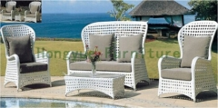 High back outdoor rattan sofa sets furniture with cushion and pillows