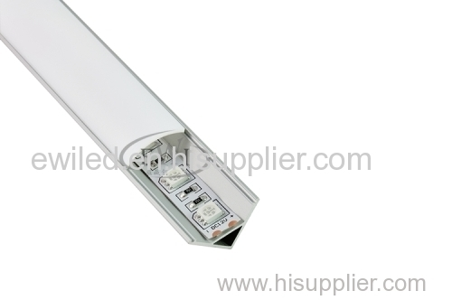 60 degree corner LED aluminum profile for kitchen or wardrobe lighting strip