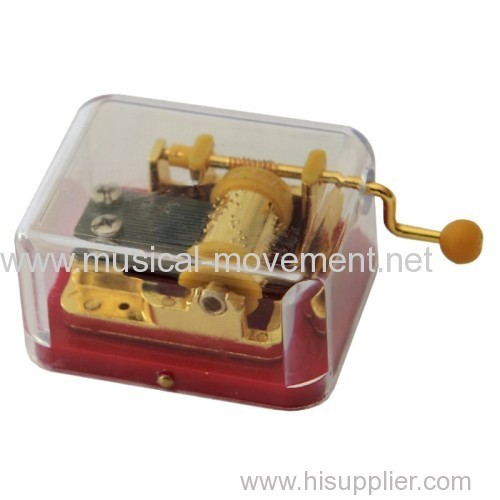 GOLDEN COLOR HAND CRANK MUSIC MECHANISM WITH TRANSPARENT CASE