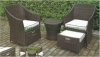 Wicker outdoor furniture rattan table chair set with cushions