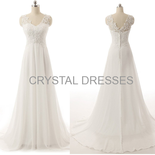 ALBIZIA Ivory Beading V-neck Applique A-line Lace Chiffon Long Beach Wedding Dresses