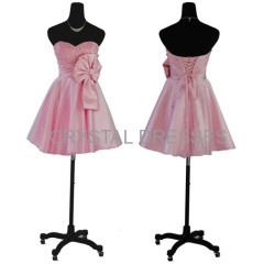 Gorgeous Pink A-line Knee length Chiffon Prom Dresses wholesale Taffeta cocktail dress