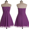 ALBIZIA Cheap Chiffon Short Prom Dresses Strapless Top Sequins Grape Cocktail Dresses With Beading