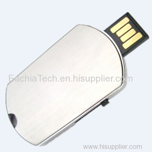 Stainless Steel Flash Driver 4GB Manufacturer Oval Shape Pen Drive in Metal Super Slim USB Disk with LOGO Corporate Gift