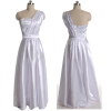 ALBIZIA White A-Line Floor-Length Pleated One-Shoulder Elastic satin long Evening Prom Dress