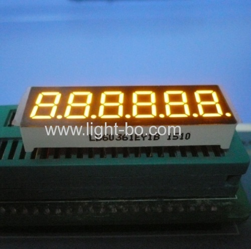 "6 digit 0.36"" super bright amber 7 segment led display common cathode for instrument panel"