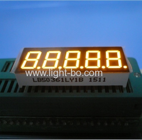 Super yellow 5 digit 0.36 inch common cathode 7 segment led display for Instrument Panels