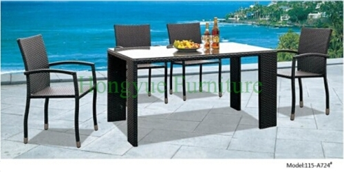 Outdoor rattan wicker dining table set furniture