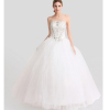 ALBIZIA high quality Beading Ivory Strapless Tulle A Line Wedding Gowns Floor length Flouncing Bridal Wedding Dresses